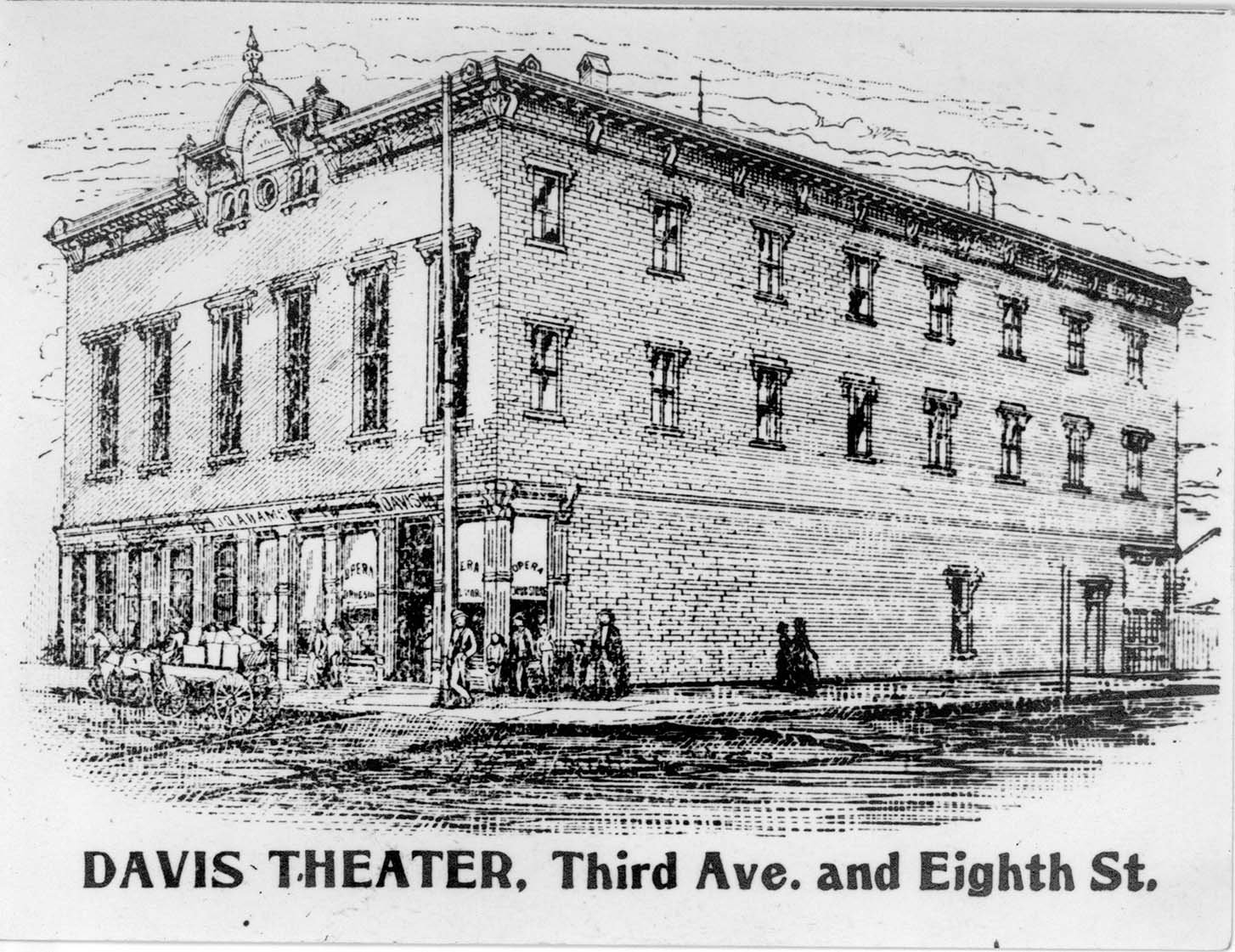 Depiction of the opera house in its earlier years. Image courtesy of Marshall University Special Collections.