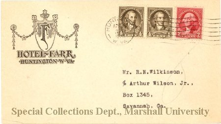 Envelope from the Hotel Farr. Courtesy of Marshall University Special Collections.