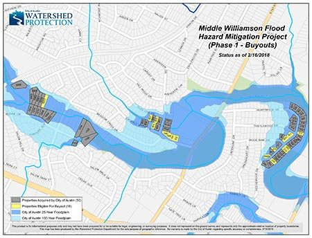 City council approved the purchase of houses affected by Williamson Creek. This is the first phase of the Williamson Creek buyout project.