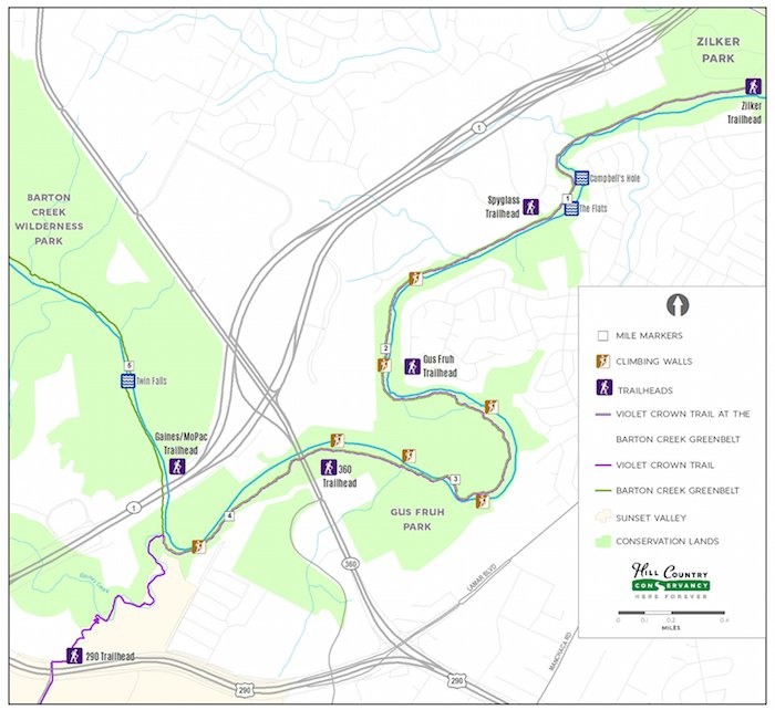 Map of Phase I of Violet Crown Trail, a 6 mile segment that opened in 2015.