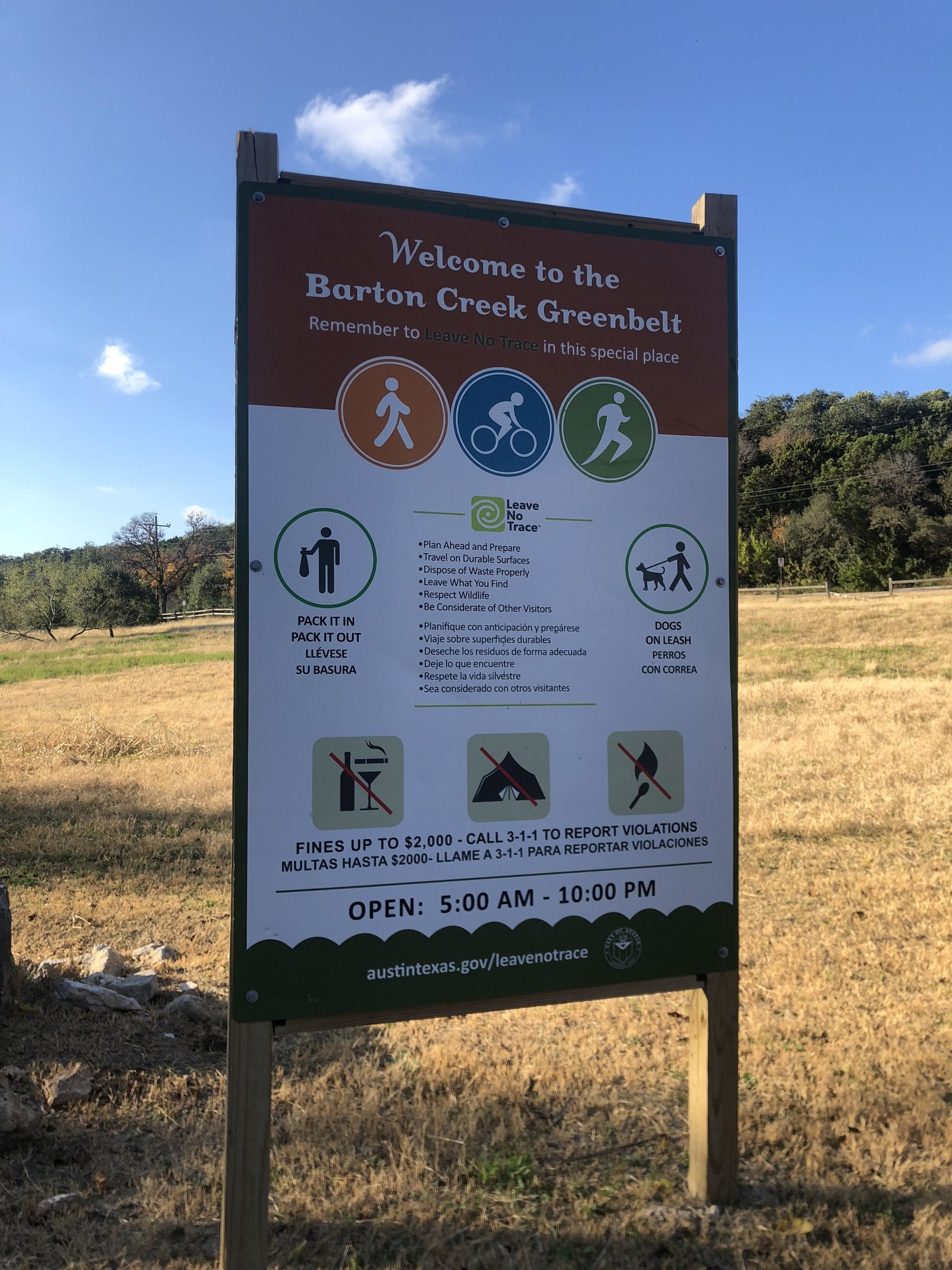 Sign of Barton Creek Greenbelt