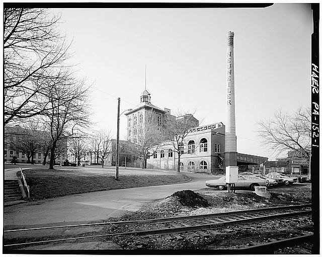 A 1979 photo of the brewery with the smokestack still standing.