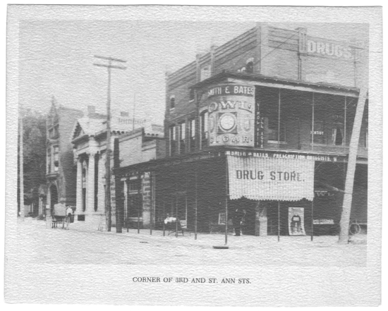Photo of the corner of Third and St. Ann streets. Central Trust Company building can be seen in the background.