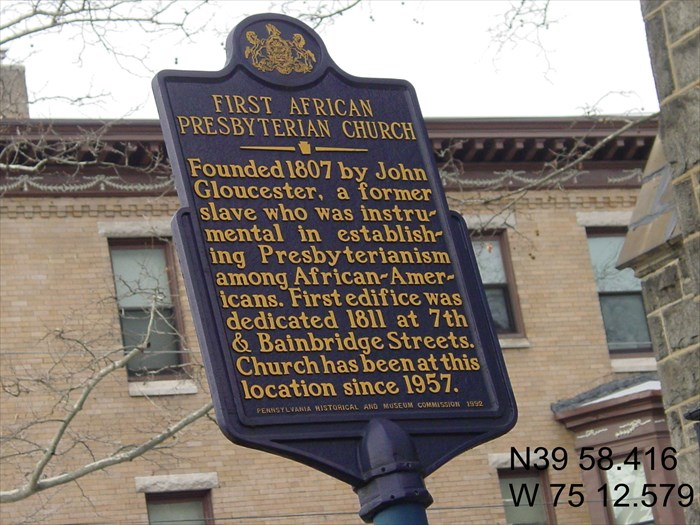First African Presbyterian Church is the Mother Church of African American Presbyterianism.