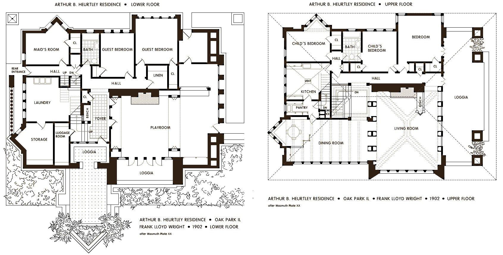 Arthur Heurtley House floor plans