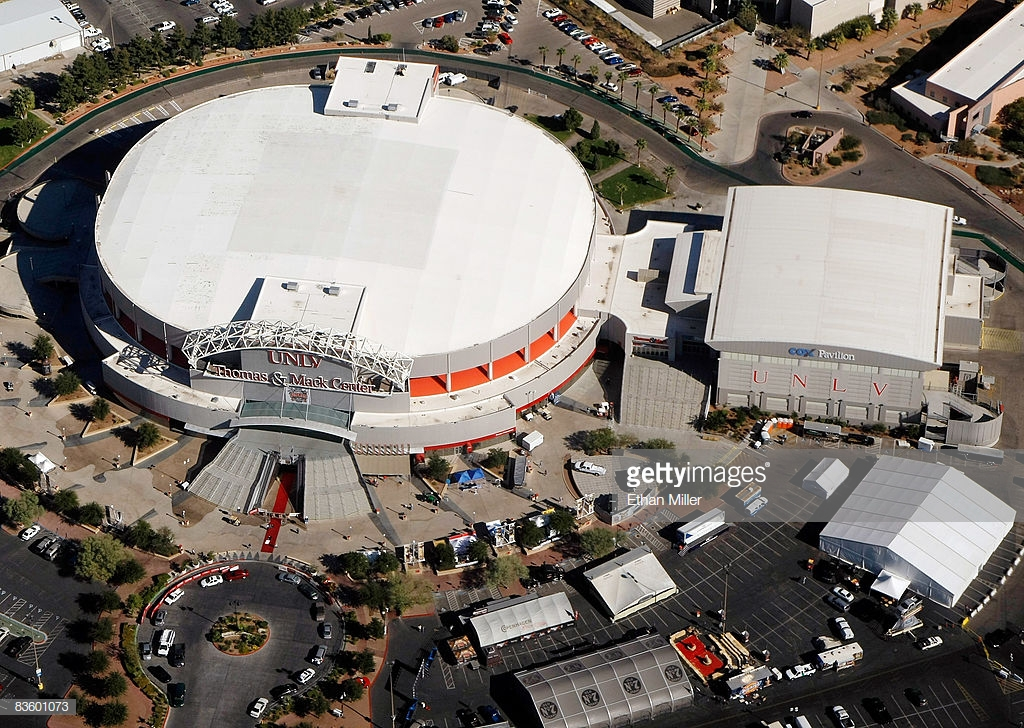 Aerial view of the outside of the entire building, including views of the Cox Pavilion.