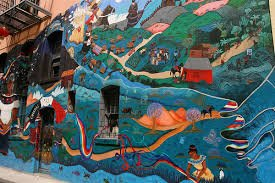A close up of the mural featured in the alley
