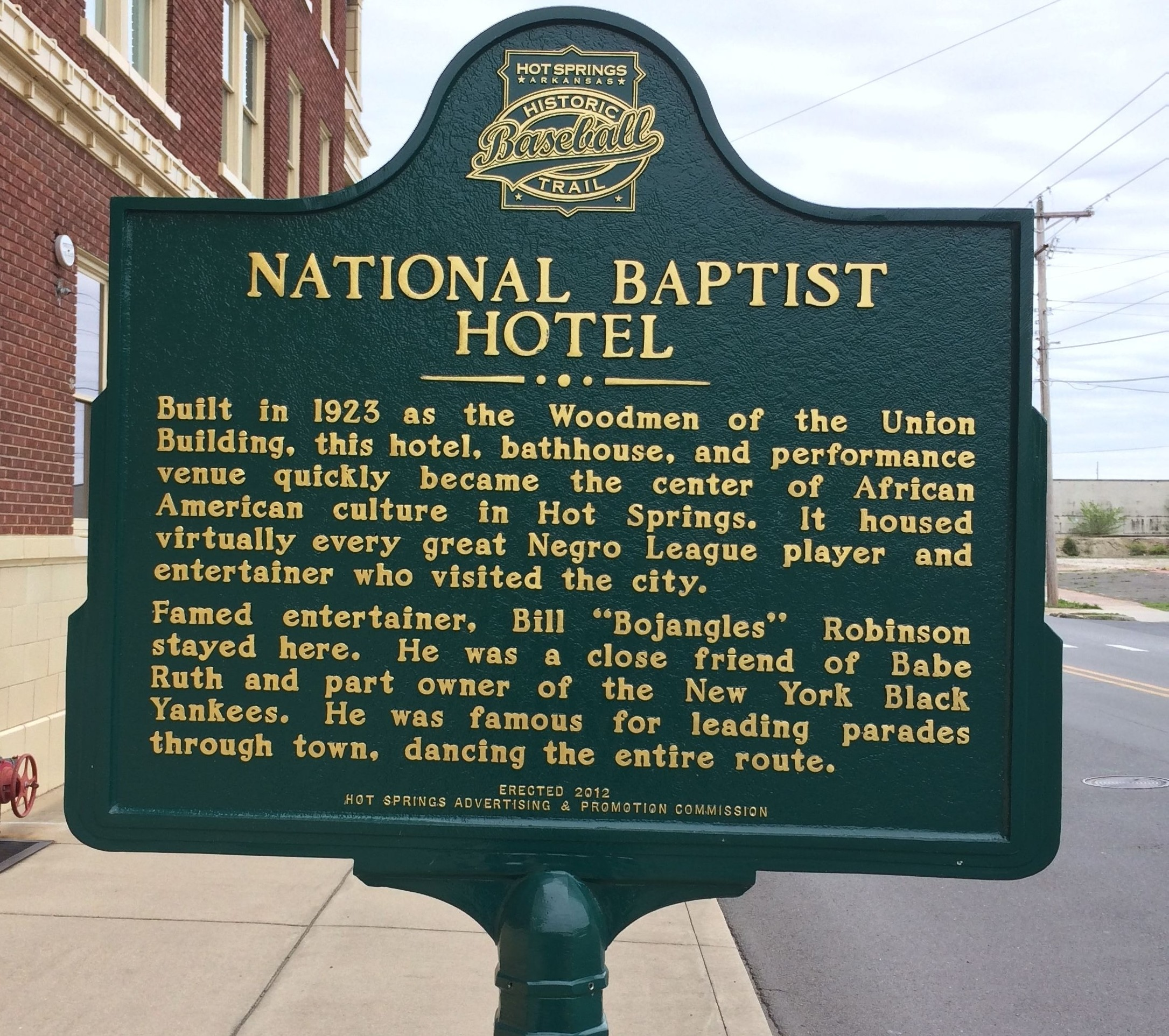 Built in 1923, the National Baptist Hotel was quickly established as the center of African American culture in the town and it became known as the place that Negro League players or black entertainers would stay when they were in town.