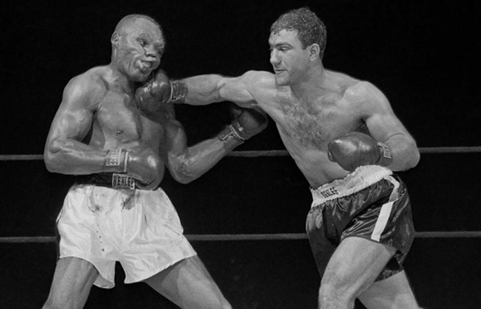 Rocky Marciano and the blow that knocked out Jersey Joe Walcott in the 13th round.