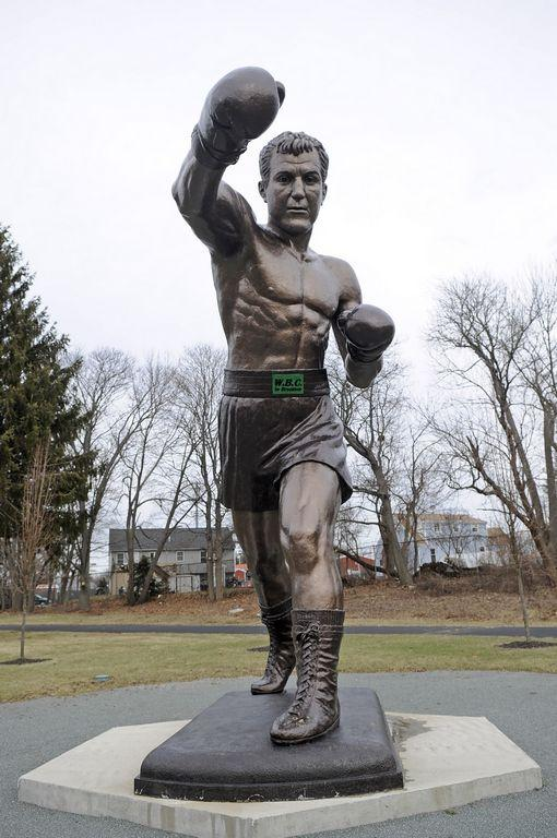 The 22.5 foot tall Rocky Marciano statue in Brockton, Massachusetts. Rocky's hometown.