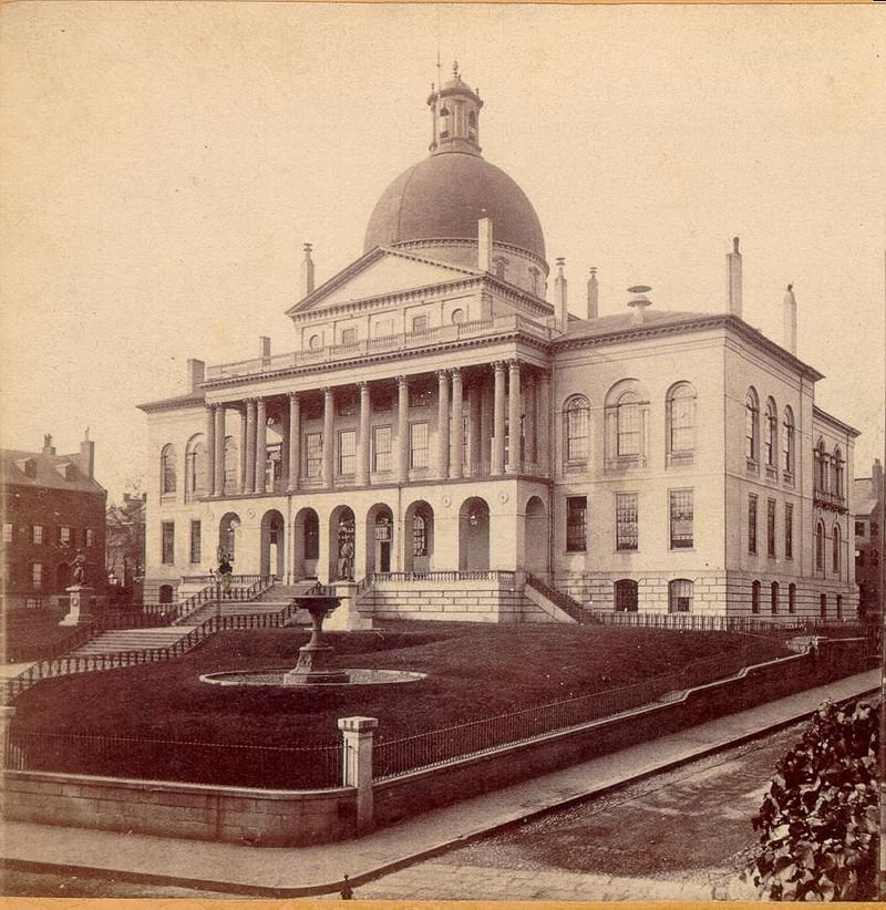 A rendering of the modern Massachusetts state house (c. 1862)