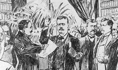 A Newspaper Drawing Depicting Theodore Roosevelt's Inauguration at the Wilcox House