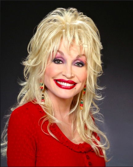 Dolly Parton posing for a headshot during a photoshoot.