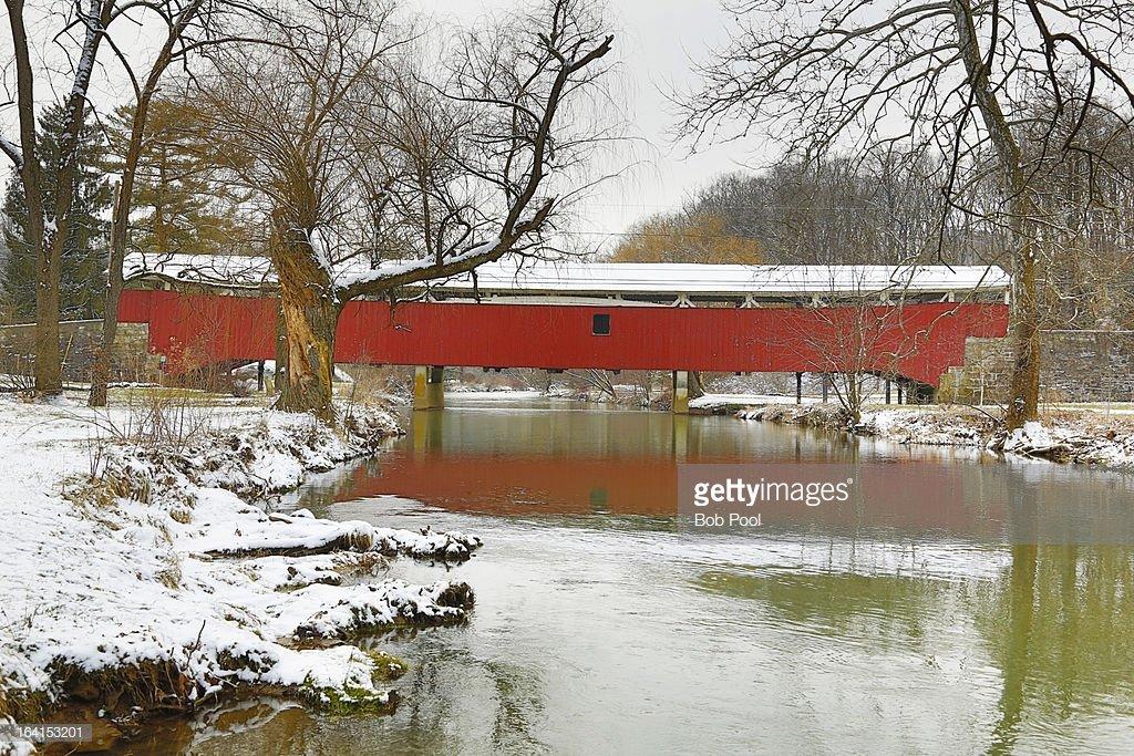 Bogert's Covered Bridge sits under a blanket of snow.