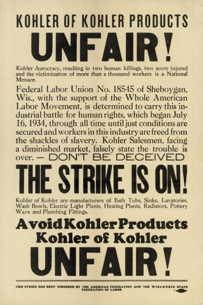 Poster advertising the boycott of Kohler products (1934)