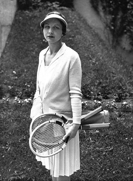 "Helen Wills Moody, aka ""Little Miss Poker Face"" with a serious look on her face."