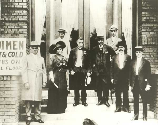 Madame Walker (second from left) with George Knox (far left), publisher of the Indianapolis Freeman, Booker T. Washington (third from left) and the board of the Indianapolis YMCA.