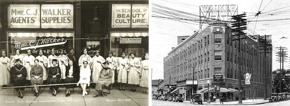 On the left, graduates of the Walker Beauty School from the class of 1939 and on the right is the Walker Theatre Building from the 1920s.