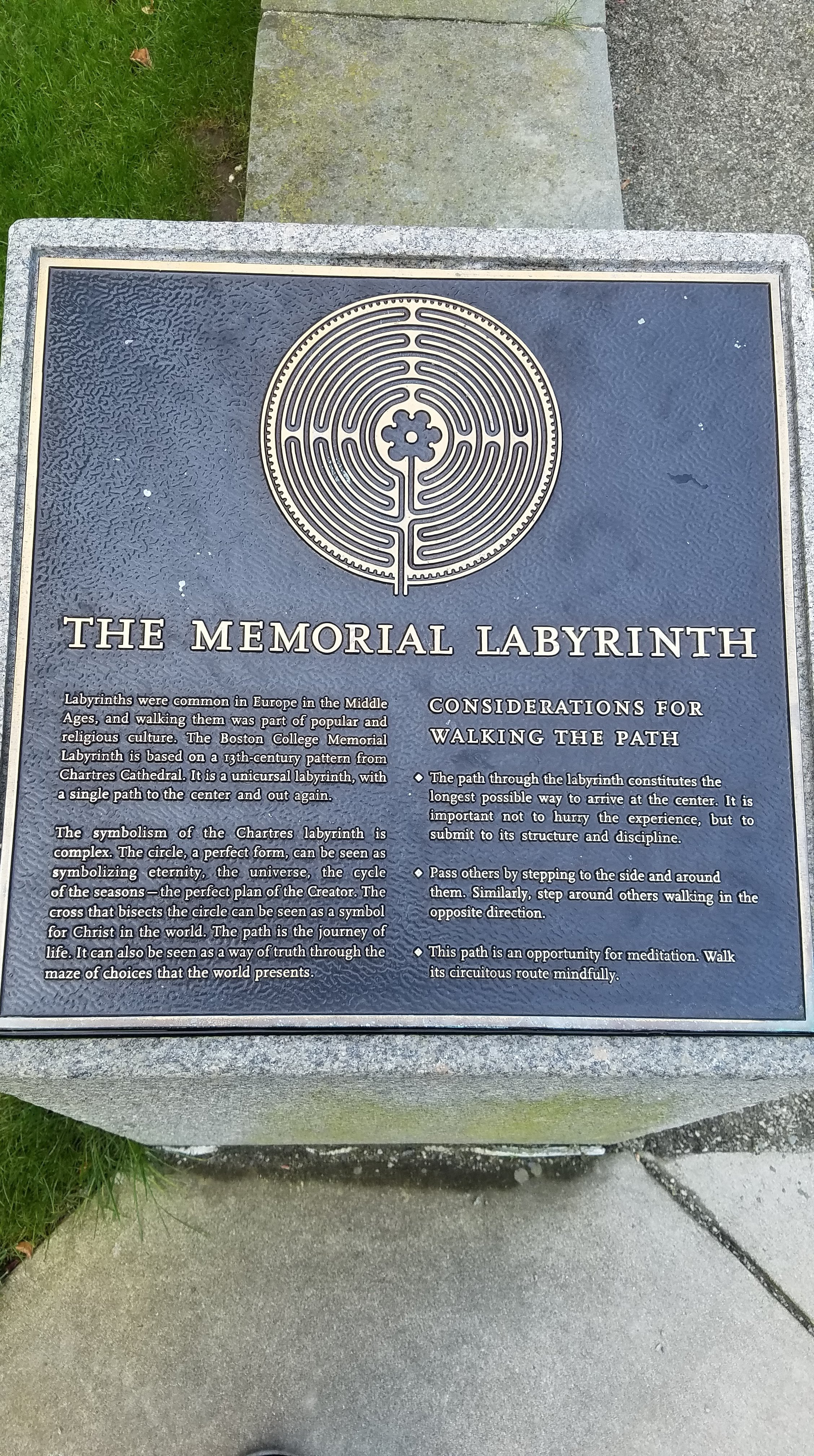 Plaque on the history of labyrinths from medieval times and their significance