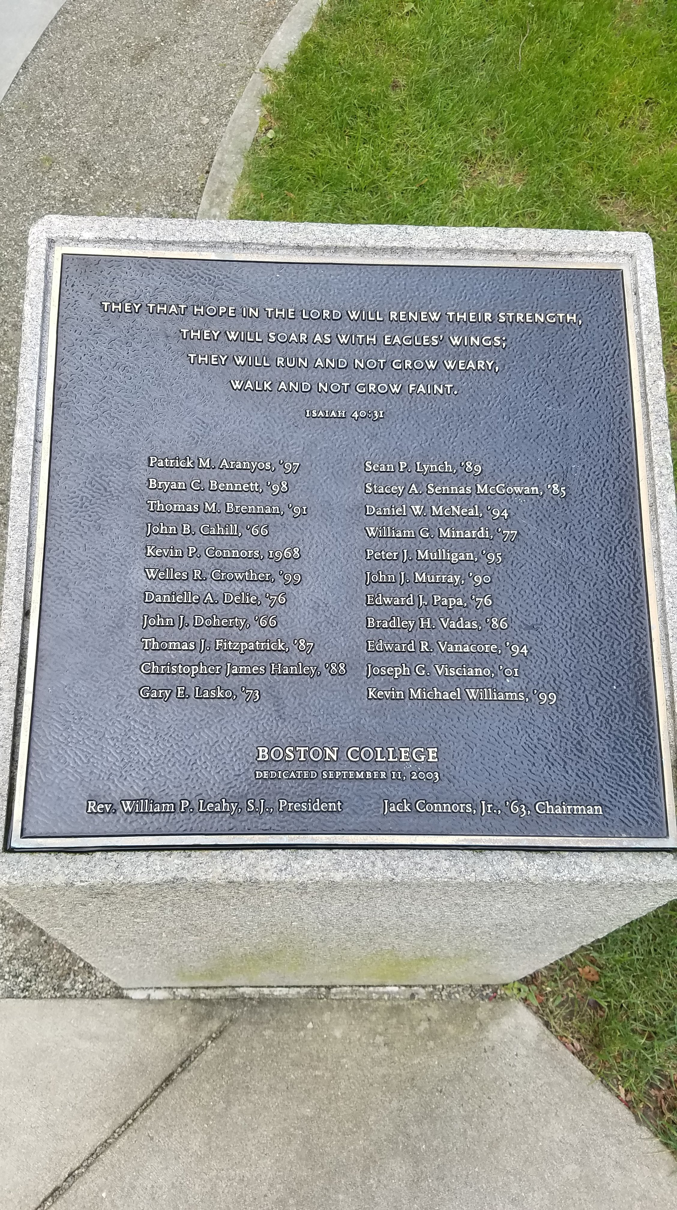 The list of people the labyrinth is commemorating