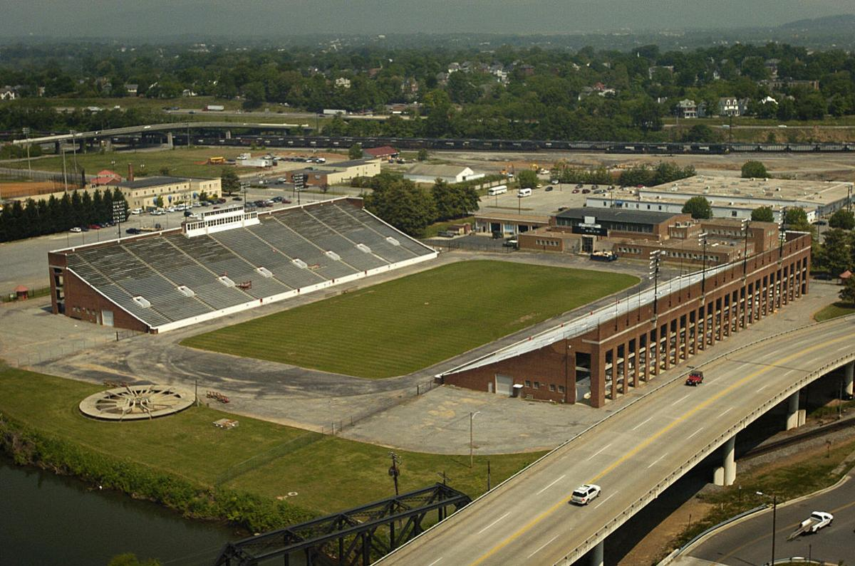 Victory Stadium, Roanoke Virginia In the foreground, you can see the Roanoke river