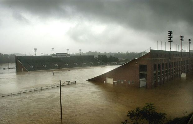 flooding of the Roanoke River ultimately led to the demolition of the stadium