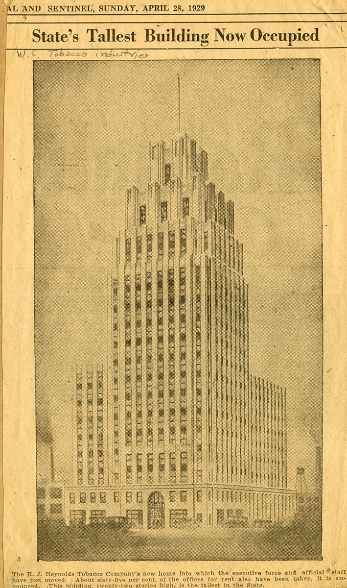 1928 publication of drawing of the new building from Winston-Salem Journal