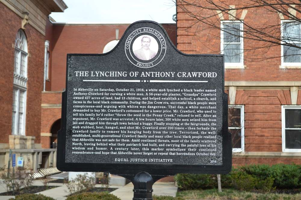 This marker was created to memorialize Anthony Crawford, a wealthy businessman in Abbeville, South Carolina who was lynched after an argument over the price of cottonseed.