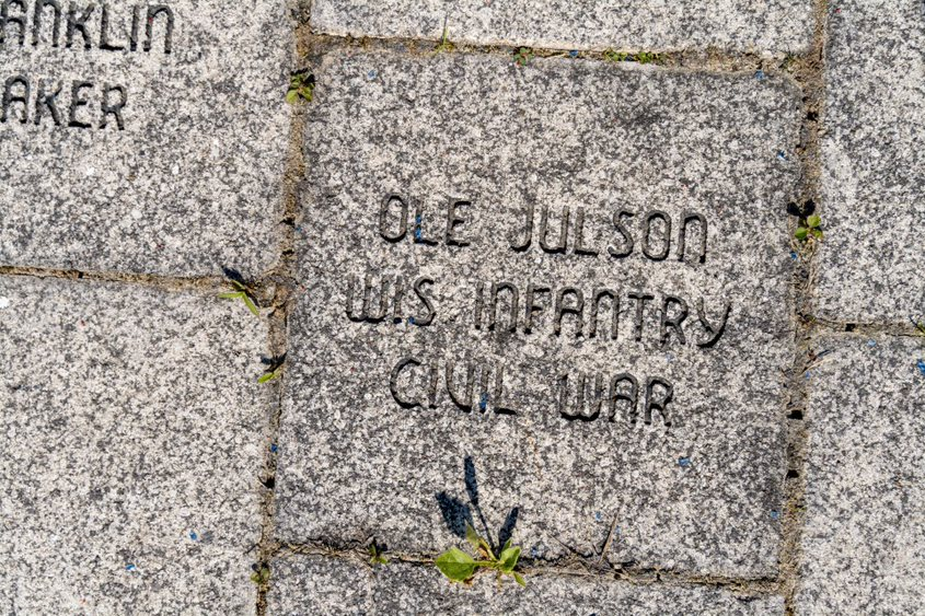 Memorial brick dedicated to Ole Julson, Wis. Infrantry Civil war