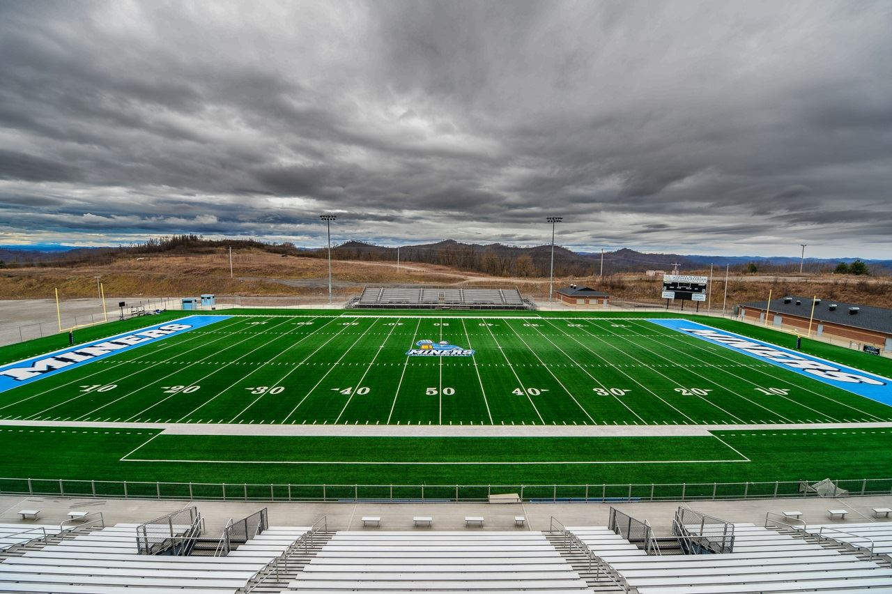 Another view of the football stadium showing off the intensity of the middle logo and the light blue end zones.