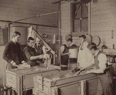 This photo, courtesy of Penn State University Archives, is of students making ice cream during one of the short courses the university offered beginning in 1889.