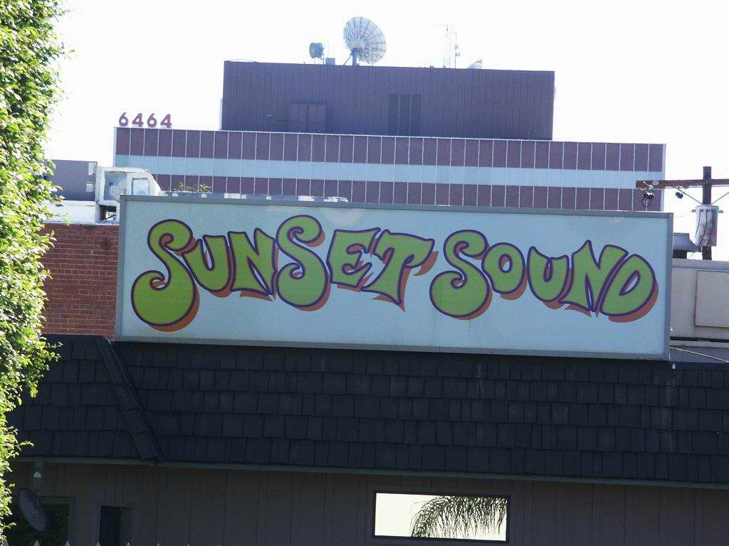 Sunset Sound sign view from parking lot.