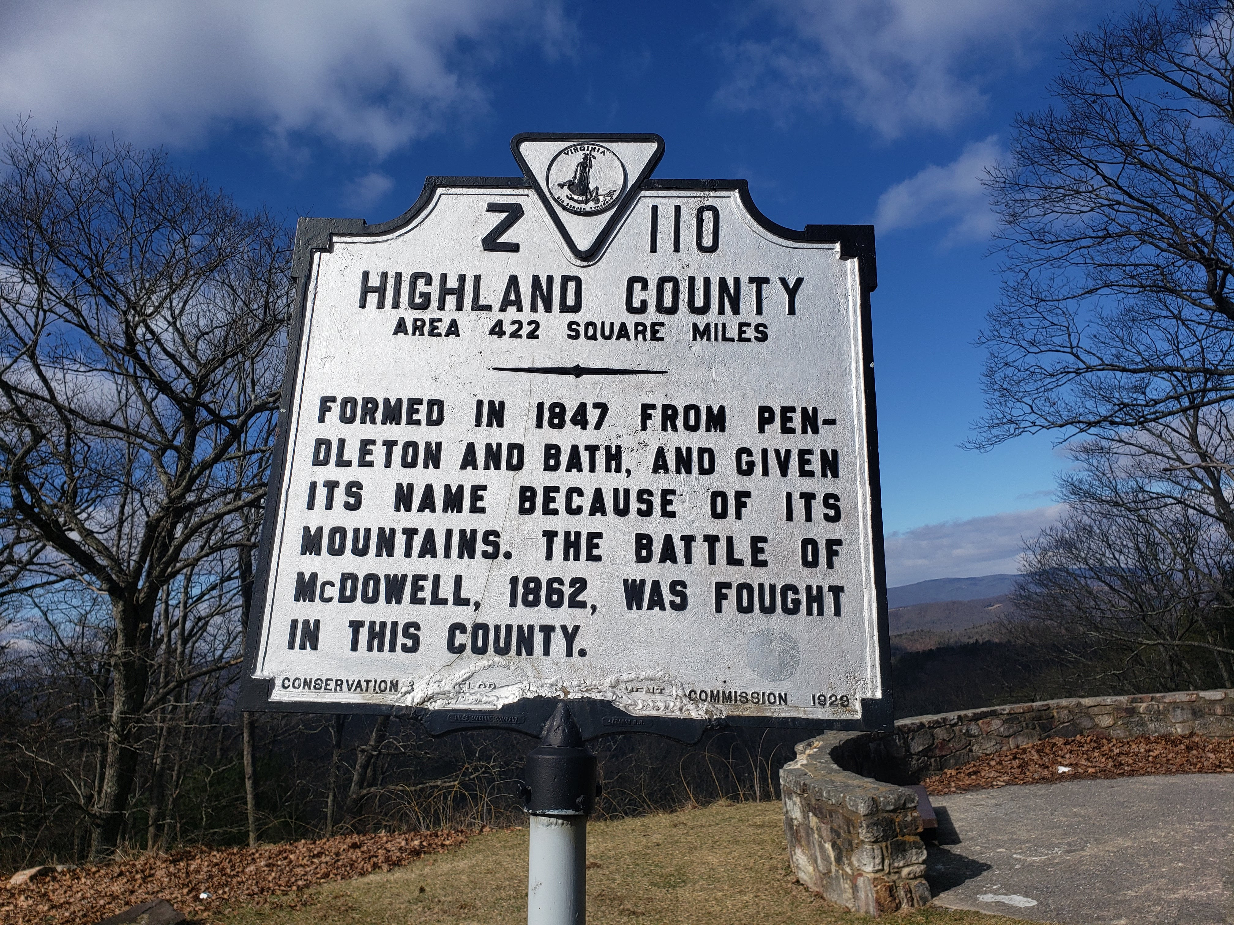 Sign upon entering Highland County