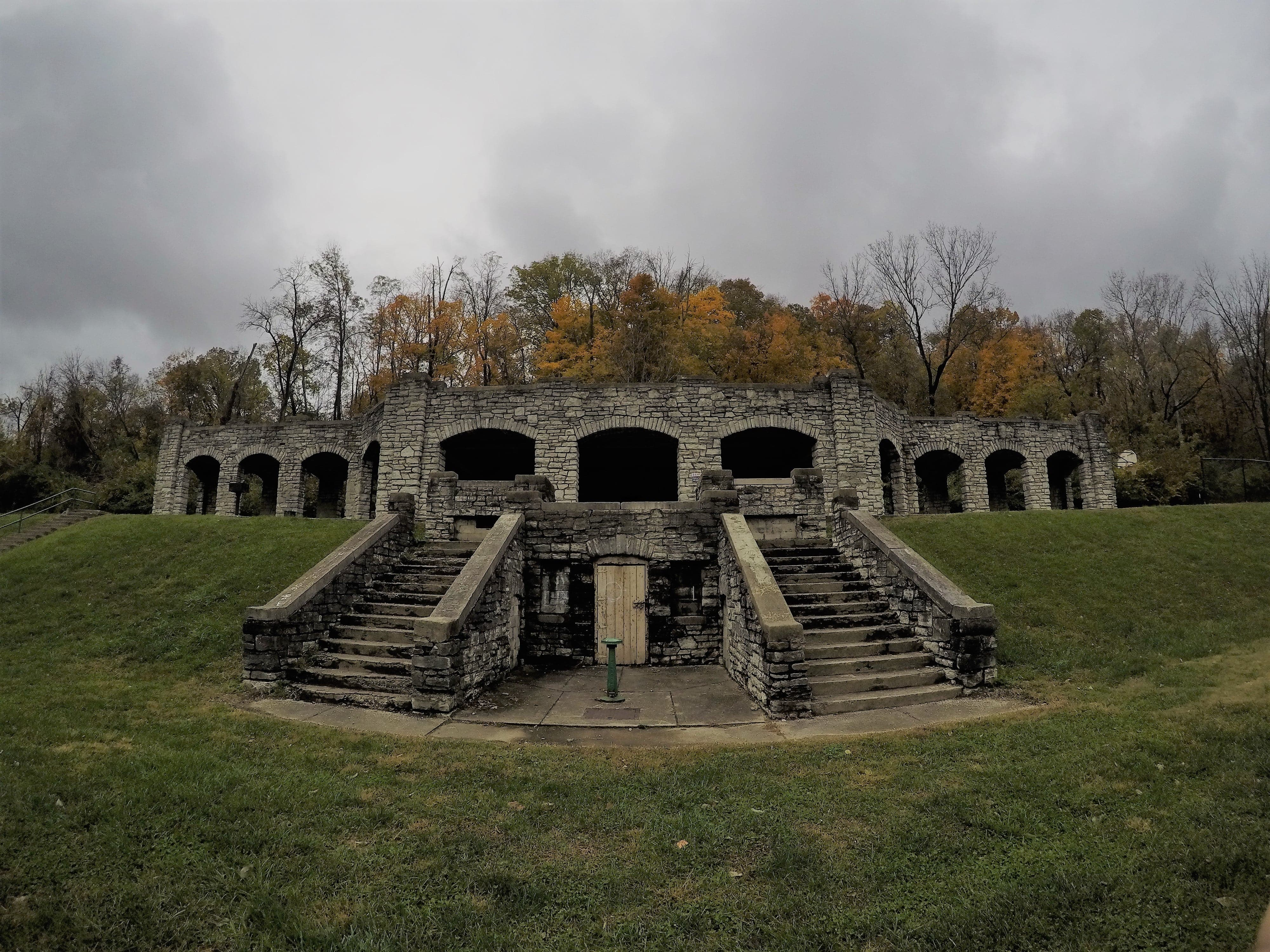 This limestone structure built in 1918 once held changing rooms for the two pools which flanked the structure.