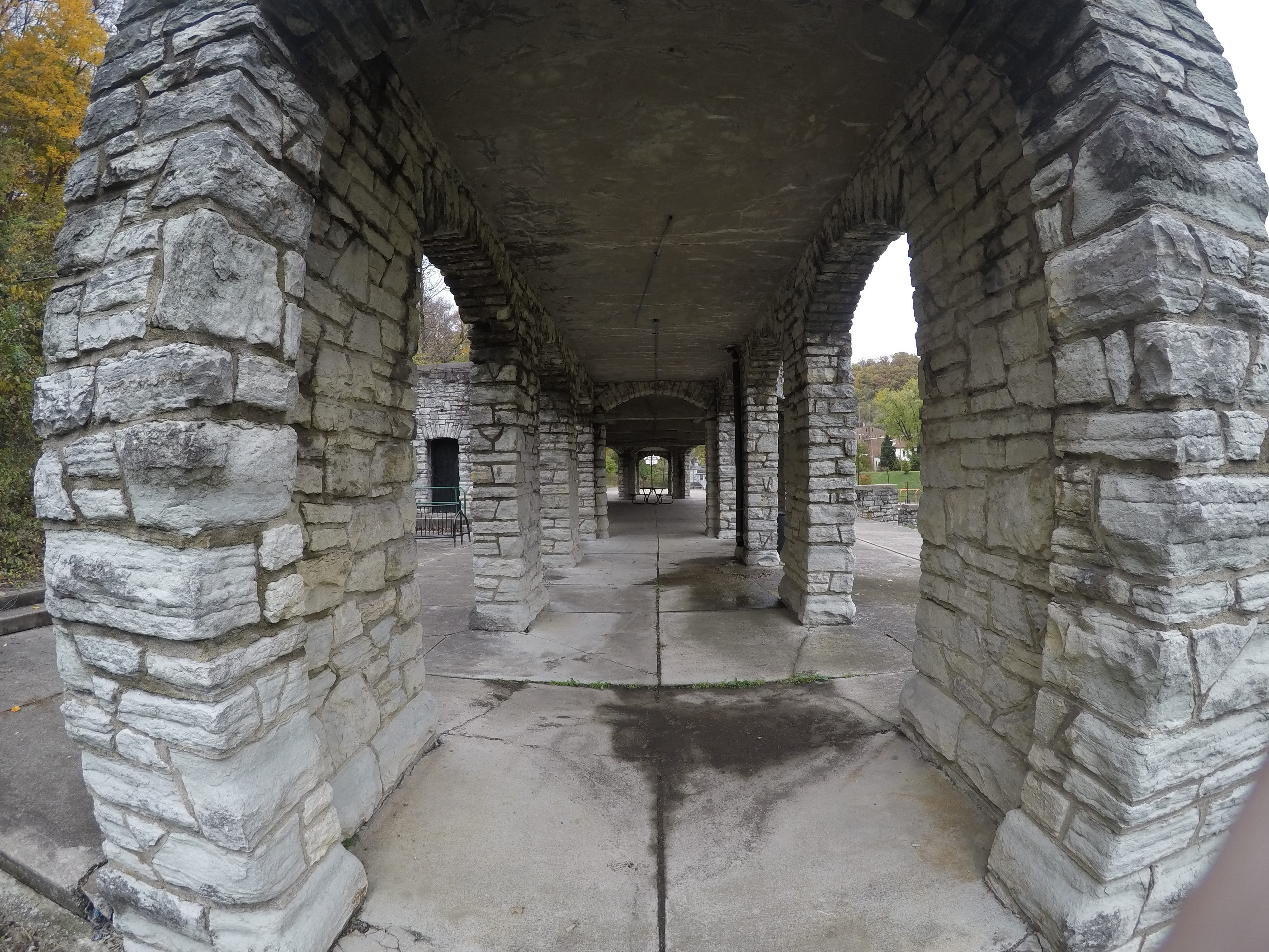 Patrons of the swimming pool would have entered the structure through these walkways. A sign on the eastern face of the structure warns against entering the building due to risk for falling concrete