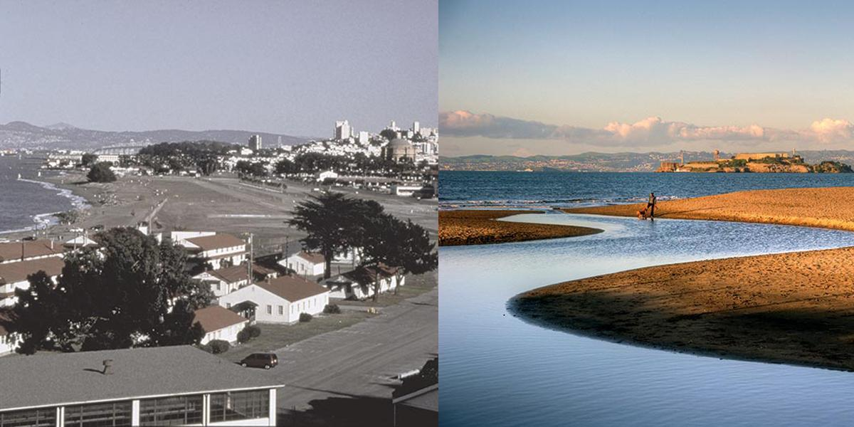 Crissy Field, before and after restoration of the tidal marshland in 1999