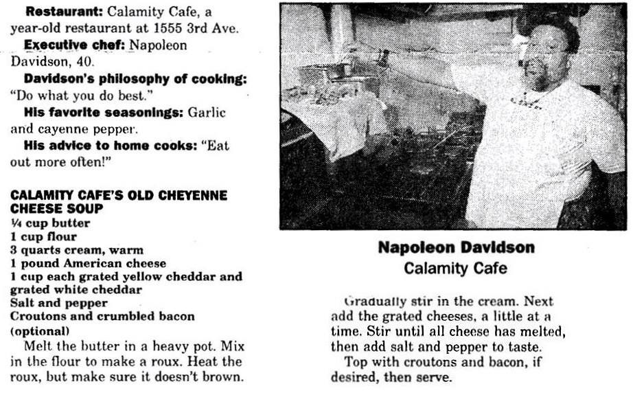 The recipe for Calamity's cheese soup was published in the newspaper