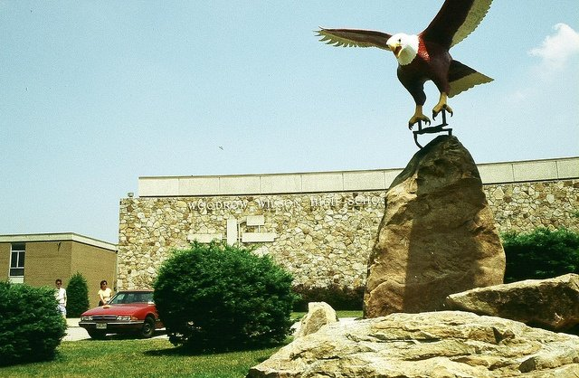 The eagle statue located outside of Woodrow Wilson High School.
