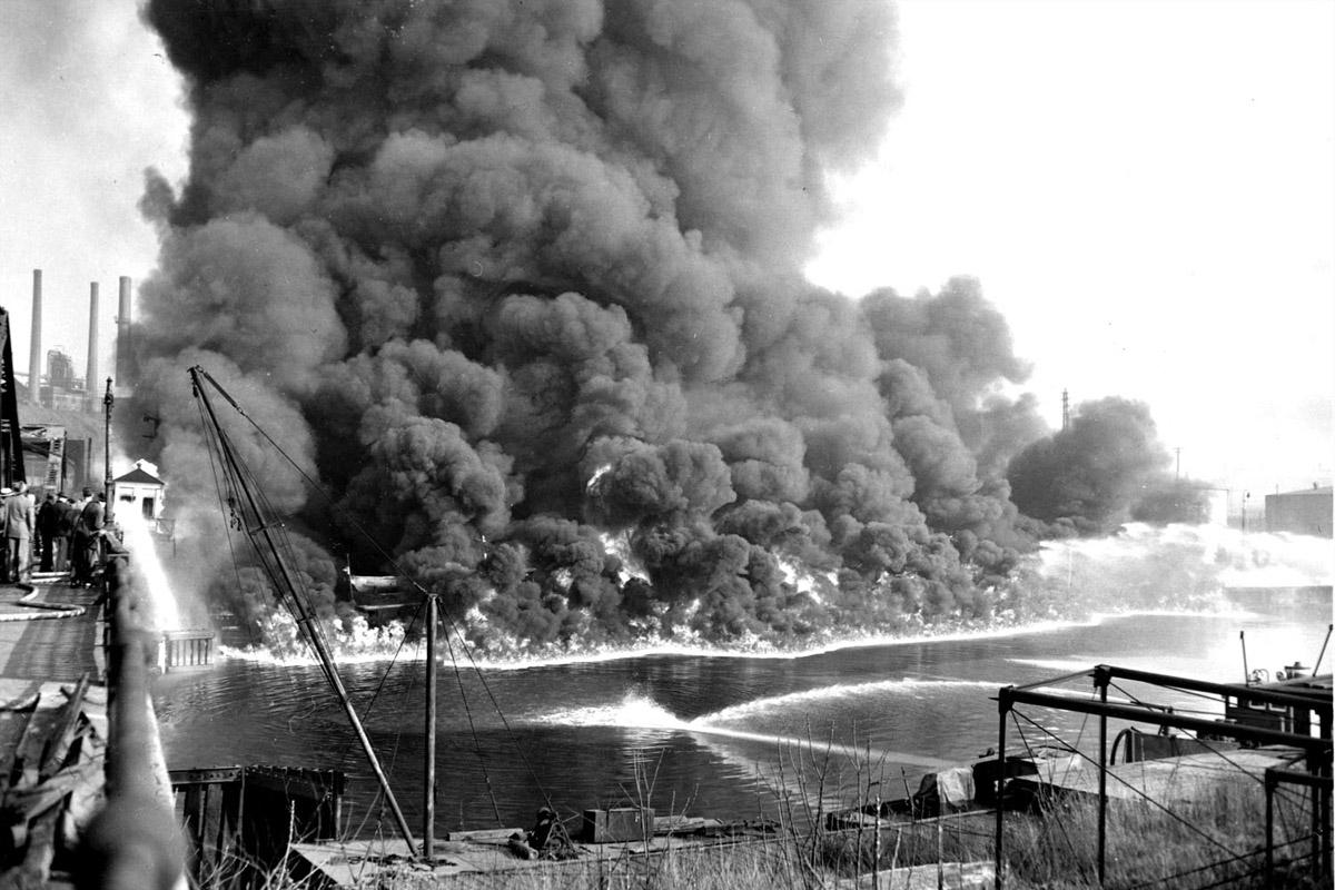A photo of the infamous 1969 fire