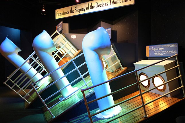 An exhibit showing the levels of inclination that the ship was at that visitors can attempt to climb.