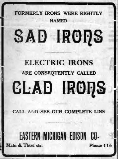 Newspaper ad for Eastern Michigan Edison in Rochester, 1912