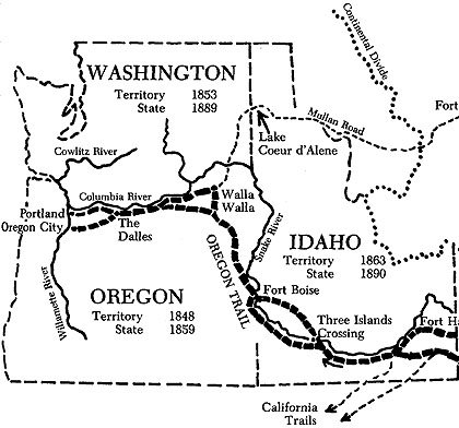A map of the end of the Oregon Trail.