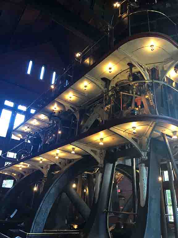 The Allis Engine inside of the Metropolitan Waterworks Museum, standing three stories above and two below the ground floor of the pumping station.