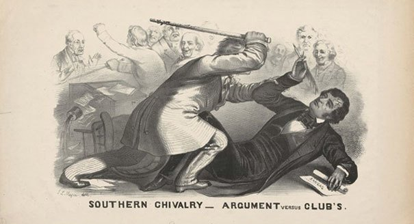 Artist's rendition of the cane beating of Charles Sumner