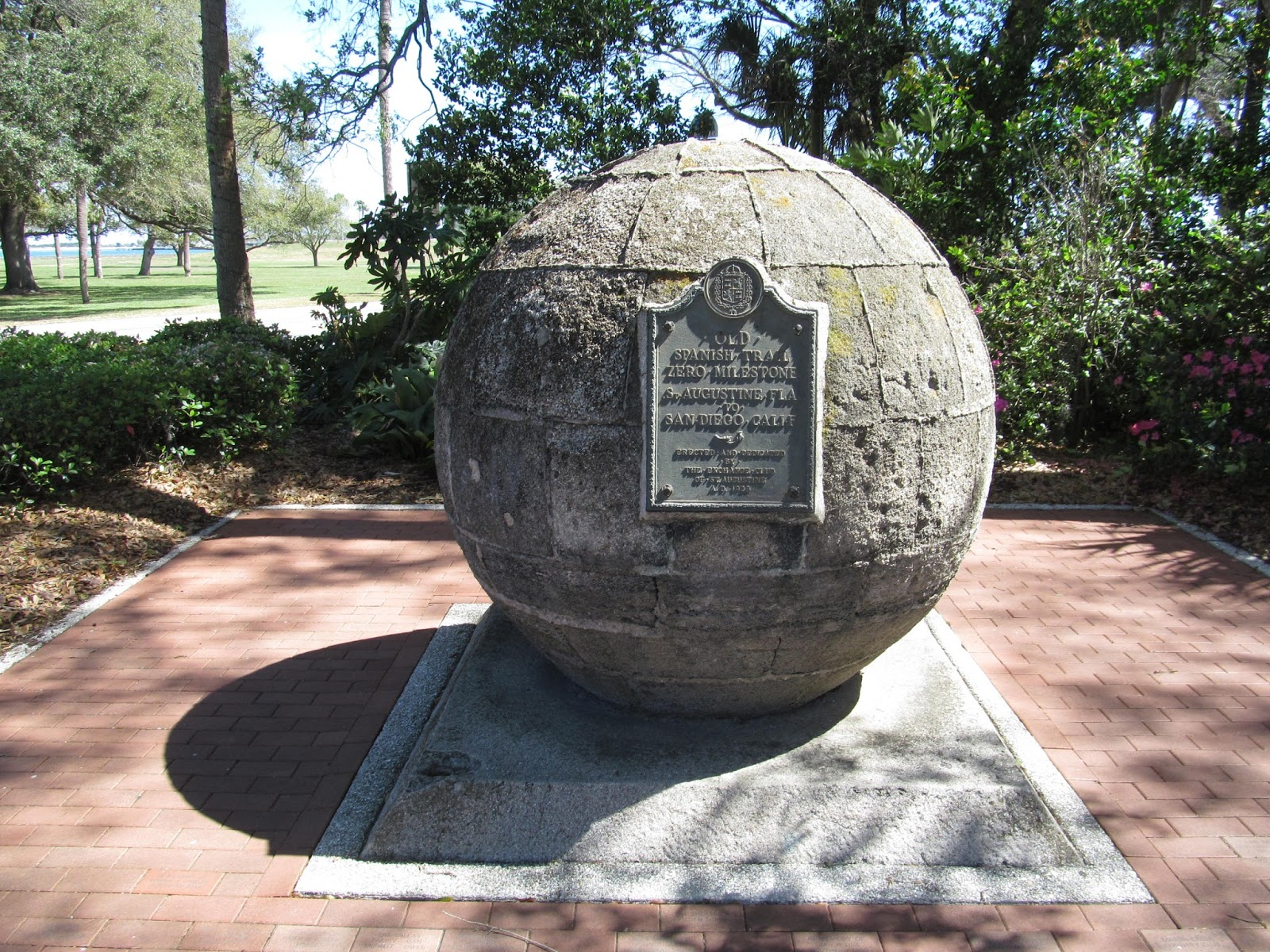 The coquina sphere marks the Old Spanish Trail Zero Milestone located in St. Augustine, Florida.