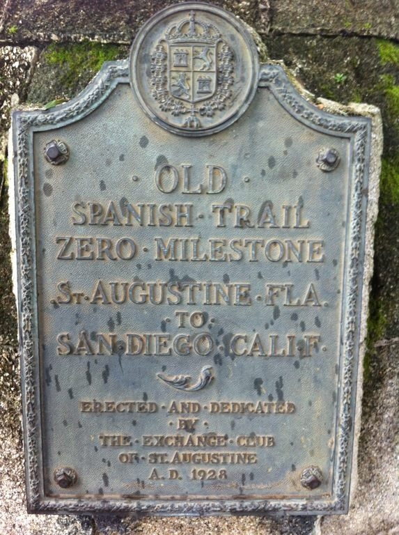 The plaque located on The Old Spanish Trail Zero Milestone located in St. Augustine, Florida.