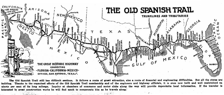 Old Spanish Trail strip map. Credit: Texas Transportation Museum