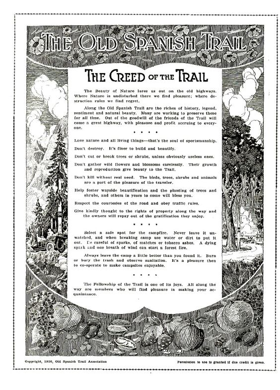 """The Creed of the Trail"" was the first page of the first issue of the Old Spanish Trail magazine. 1920, Old Spanish Trail Association. Credit: St. Mary's University"