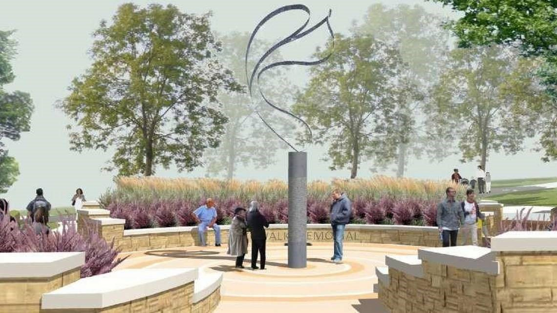 Concept design for the memorial. It features a flowing statue as a contemporary depiction of a couple dancing on a pedestal engraved with the names of the 114 victims of the collapse. This picture was featured in a Kansas City Star article about the plans