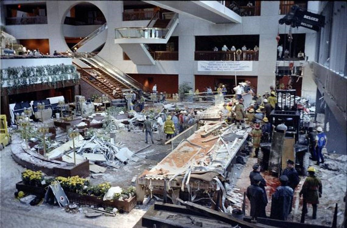 The wreckage that remained after the collapse, featured in a Kansas City Star article published on the 30th anniversary of the disaster along with the announcement of a book to remember the tragedy and to support the creation of the Skywalk Memorial.